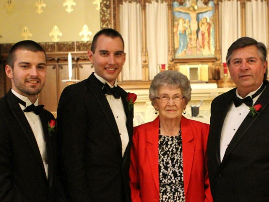 The Register's Aaron Young (left) poses for a photo with his brother, Ryan Young, grandmother Virginia Kail, and father Fred Young before Ryan's wedding in September  2013.