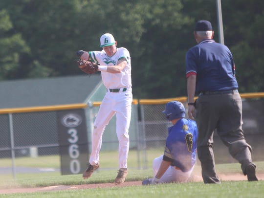 Greendale's Jake McGee comes down with a throw and