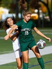 Montville's Dani Vito controls the ball vs. Roxbury during their NJSIAA North 1 Group III girls soccer match. November 2, 2017. Roxbury, New Jersey