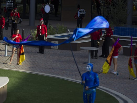 Chaparral High School's marching band performs at the