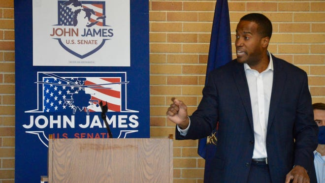 U.S. Senate Republican candidate John James speaks before a crowd of about 90 supporters Friday, Oct. 16, at the Holland Civic Center.