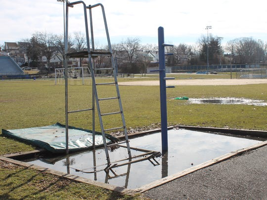 The practice field at Belleville High School is a bit soggy on Sunday, Jan. 29, nearly a week after the last precipitation.