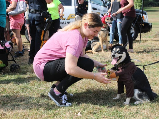 Hawthorne resident Shannon Labue with her dog, Nala,