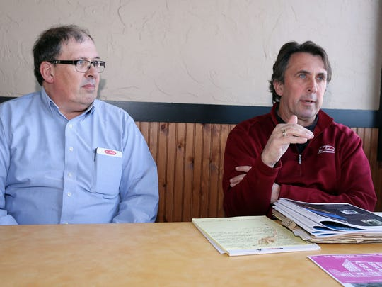 Steve, left, and Reed Schmitt describe their plans for the former Sheboygan Senior Community building Tuesday March 29, 2016 in Sheboygan.  The brother are planning to open dorm-style apartments for interns, college students and seasonal workers.