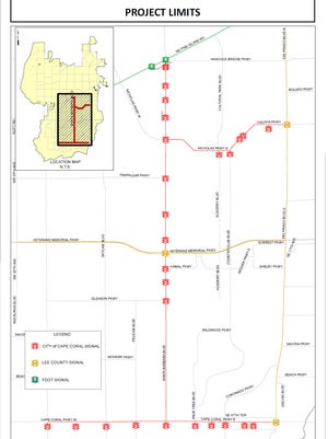 This map shows the traffic lights in Cape Coral that would be studied using funds from the Florida Department of Transportation.