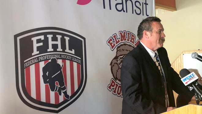 Team owner Robbie Nichols speaks during a press conference July 17 announcing a Federal Hockey League team will play at Elmira's First Arena.
