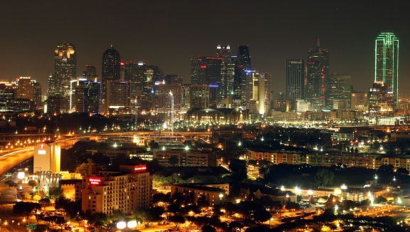A general view of the skyline of downtown Dallas, Texas on June 6, 2011.