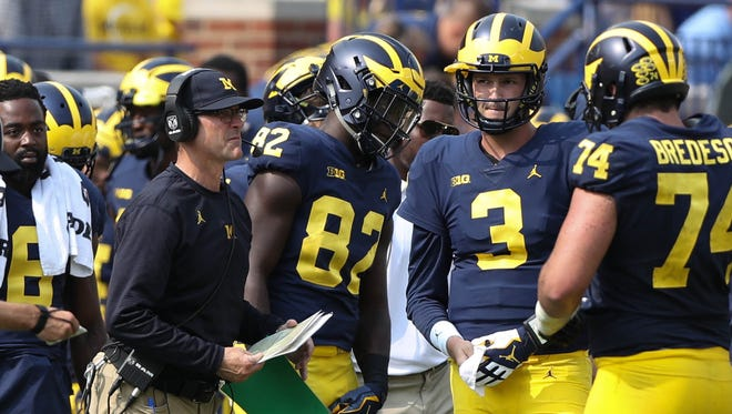 Jim Harbaugh on the sideline during Michigan's 29-13 win over Air Force, Saturday, Sept. 16, 2017 at Michigan Stadium.