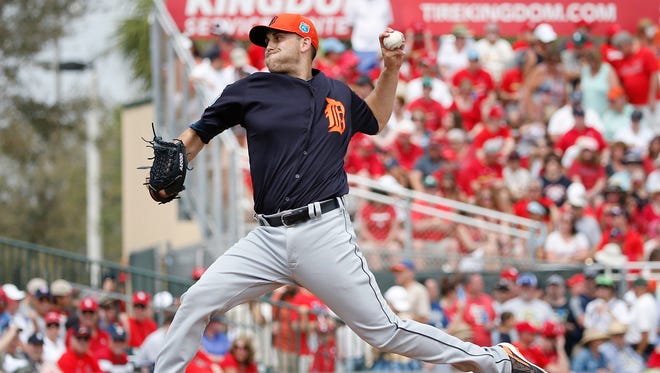 Detroit Tigers starting pitcher Matt Boyd delivers during the first inning against the St. Louis Cardinals on Friday, March 18, 2016, in Jupiter, Fla.