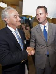 Then-Attorney General Bill Sorrell, left, and current Attorney General T.J. Donovan appear together at an event in 2012.