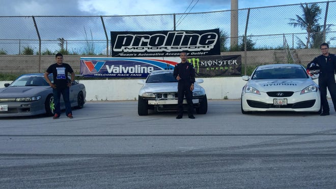 The event winners at round two of the 2015 Proline Drifting Championships Sunday at the Guam International Raceway in Yigo are, from left: Rex Deseo, second place; Arvin Aviles, first place; Dan Aclaro, third place.