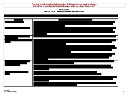 The version of the bid made available to the public from Aon Hewitt. It has been redacted by the company.