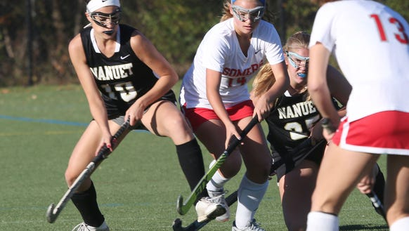 From left, Nanuet's Taylor Rosenfeld (10) and Somers