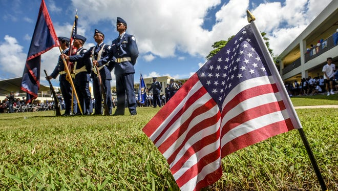The Air Force junior ROTC cadets hosted the 2nd annual Veterans Recognition ceremony to honor local veterans at John F. Kennedy High School in Tamuning on Thursday, Nov. 11, 2016.