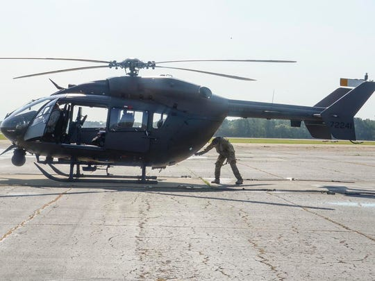 The LANG sent one LUH-72 Lakota to assist the U.S. Border Patrol by providing air support along the Texas-Mexico border, May 23, 2018. The LANG's Lakotas are equipped with a mission equipment package that includes a WESCAM infrared camera for night time operations and camera recording capabilities. (U.S. Army National Guard photo by Sgt. Noshoba Davis)