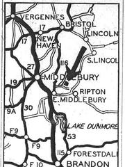 Map to location of crime scene, as published by the Burlington Free Press on May 18, 1935.