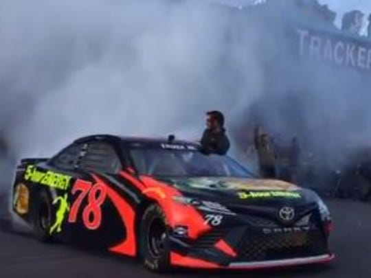 NASCAR champion Martin Truex Jr. makes a dramatic entrance