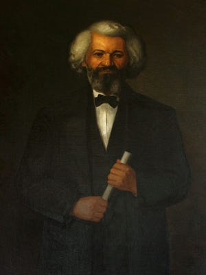 A portrait of Frederick Douglass as it appears in the National Park Service collection. An expert there believes a copy of this portrait was given to Fisk University.