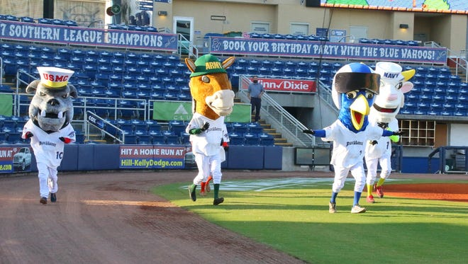 The Blue Wahoos' new military mascots make their debut at a reception Tuesday night at Blue Wahoos Stadium.