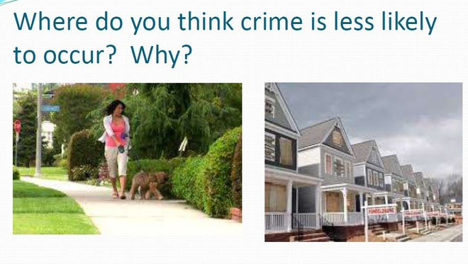 An excerpt from a slideshow presentation from the Monterey County Department of Health asks audience members in which photo do they think crime is less likely to occur. Salinas Neighbors United hosted a meeting about reducing violence through environmental design Tuesday.