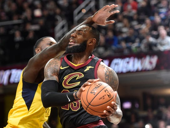 ; Cleveland Cavaliers forward LeBron James (23) is