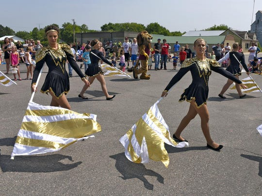 The Royalton High School Marching Band performed for the crowd during the Bowlus Fun Days parade Sunday.