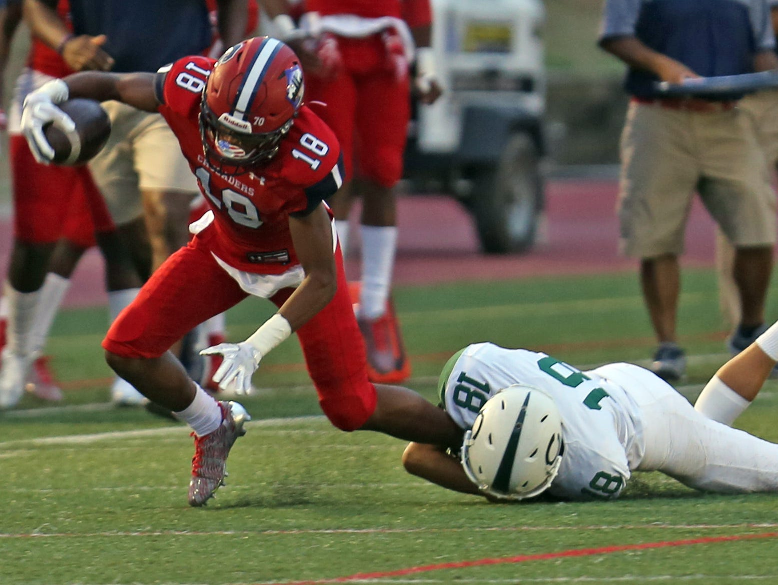 Cornwall's Joseph Lynch (18) tackles Stepinac's Sean Jasper (18) during the Joseph R. Riverso Memorial football game in its season opener at the high school in White Plains on Sept. 9, 3016.