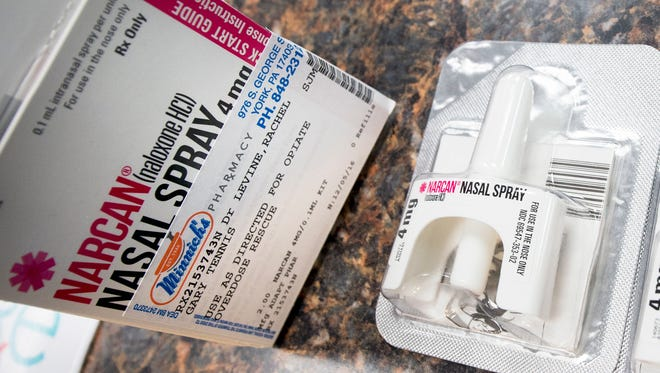 Narcan nasal spray was provided to Gary Tennis, secretary of the state department of drug and alcohol programs, to demonstrate how everyone in Pennsylvania can get the heroin-overdose antidote from any pharmacy that sells it, without getting a prescription from their family doctor.