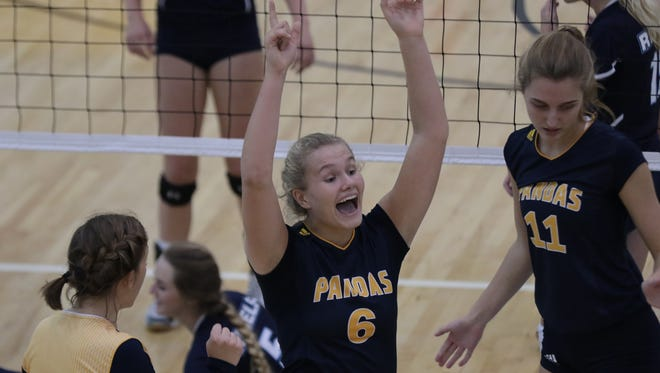 Notre Dame Academy's Lainey Stephenson celebrates during the Pandas' 25-12, 25-12 win over Boone County Tuesday.