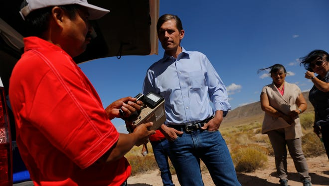 Sen. Martin Heinrich, D-N.M., tours a former uranium mine in the Red Valley Chapter in Arizona on Oct. 2, 2015.