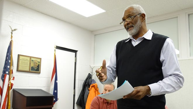 Geron Tate, president of the Mansfield chapter of NAACP, addressed the Mansfield City Schools board of education Tuesday,