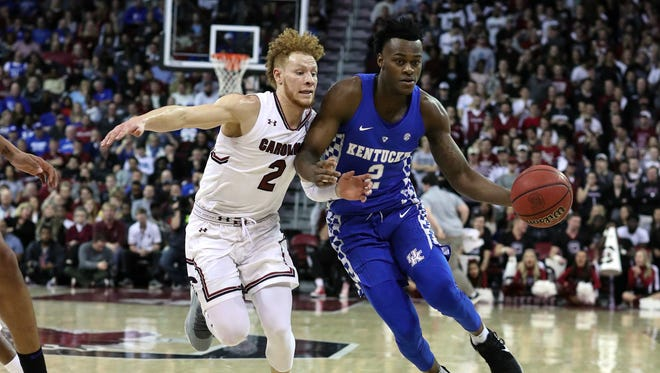 Kentucky Wildcats forward Jarred Vanderbilt (2) drives to the basket covered by South Carolina Gamecocks guard Hassani Gravett (2) during the first half at Colonial Life Arena in Columbia, South Carolina, on Tuesday, Jan. 16, 2018.