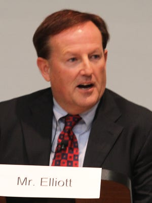 Mark Elliott participates in a candidate forum Oct. 7, 2014, at Sage Hall on the University of Wisconsin-Oshkosh campus.