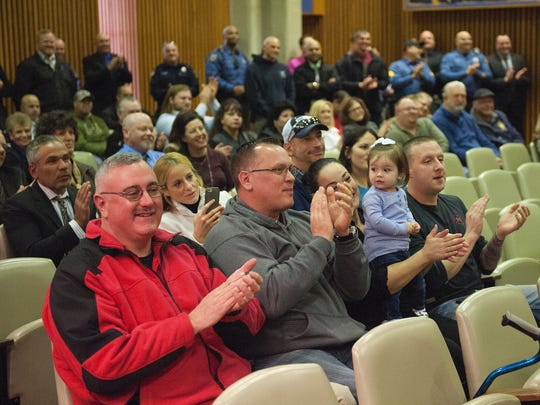 Vineland residents gathered for the swearing in ceremony for Vineland police officers, Captain Mathew Finley, Lt. Leonard Wolf, and Sgt. Scott O'Neil at the Vineland City Hall.