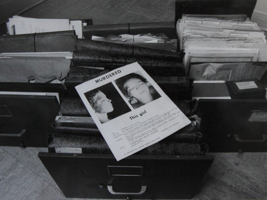 A photo from 1989 of three drawers of information on Tammy Jo Alexander.