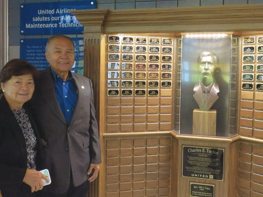 Roger Peros Ruiz had the honor of his name engraved in a United Airline tribute to the Charles E. Taylor master aviation mechanic award at O'Hare Aiport Chicago, Illinois. Taylor was the first aviation mechanic in powered flight and served as a mechanic for the Wright brothers, who was also credited to the design, build, and maintenance of their first successful aircraft flights. Since 1988 the Federal Aviation Administration has presented an award named in Taylor's honor to technicians with at least 50 years of service, 30 of them as a certified FAA technician. Roger has served the Island of Guam and the Pacific Region as an aviation technician for over 50 years. This award recognizes his lifetime accomplishments as a senior mechanic. He is also the first known person on Island to receive this prestigious award in August 2011 by Hawaii's FAA office. Pictured from left: Shirley and Roger Ruiz pictured alongside his name and the many other award recipients inside O'Hare Aiport Chicago, Illinois on March 5.