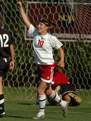Riverside's Sarah Jacobs reacts after scoring her 2nd