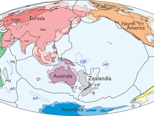 A map of the world including Zealandia.