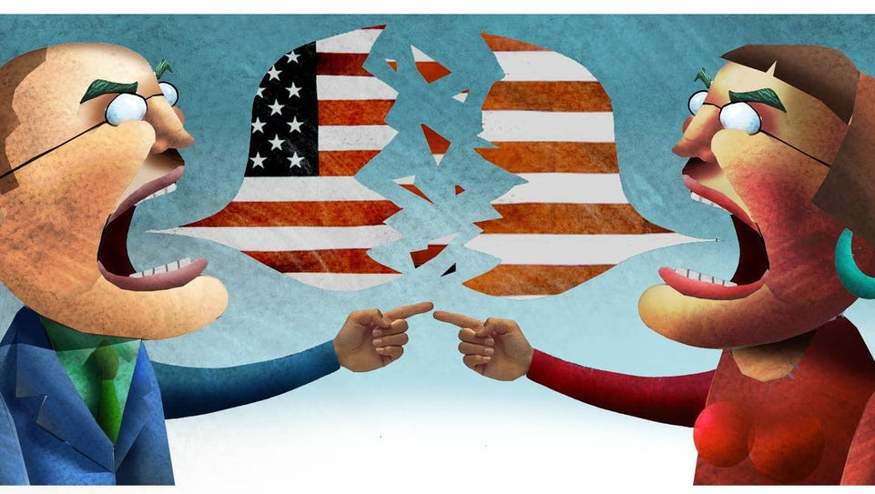 Political debate illustration by syndicated artist