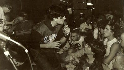 Kevin Seconds, of 7 Seconds, sings to a crowd during the Skeeno era of Reno punk rock from 1979-1985.