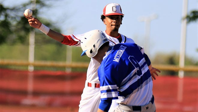 Canton's A.J. Brazelton fires the baseball over Salem's Sean McCormack (9) during  Monday's contest.