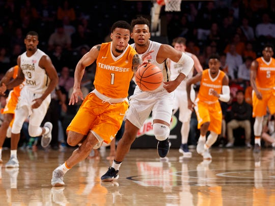 Lamonte Turne of Tennesse during the game between the Georgia Tech Yellow Jackets and the Tennessee Volunteers at McCamish Pavilion in Atlanta, Ga., on Sunday, Dec. 3, 2017.