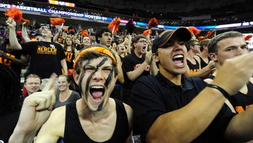 Mercer fans delighted in their team pulling off the biggest bracket-busting upset of the NCAA Tournament