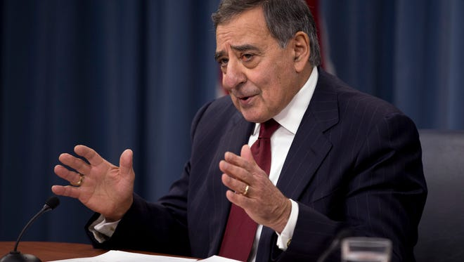 Then-Defense Secretary Leon Panetta gestures during a news conference at the Pentagon last year