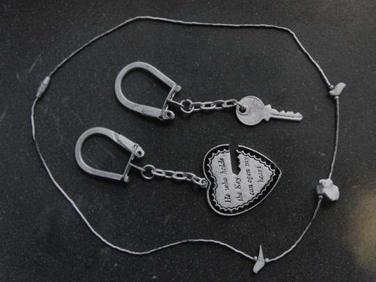 A necklace and key rings found on Tammy Alexander. According to former sheriff John York, he said on Jan. 28, 2015, the key chains were purchased in a vending machine on the Thruway.