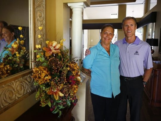 Activities Coordinator Pat Banahan, left, is shown in portrait with General Manager Don Huprich Monday, April 25, 2016 at Hunters Ridge Golf & Country Club administration building in Bonita Springs, Fla. Huprich helped spearhead the donations.