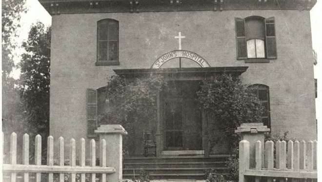 The first incarnation of St. John's Hospital at Washington and Chestnut, ca. 1891.