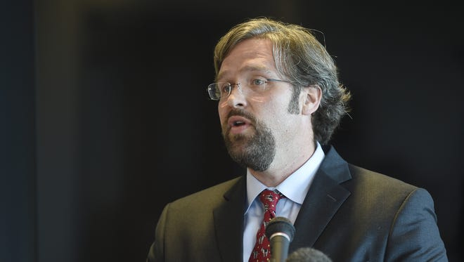 Attorney Gerard Stranch speaks during a news conference in which he, along with Tennessee Citizen Action, requested an investigation into potential financial misconduct involving Stand for Children.