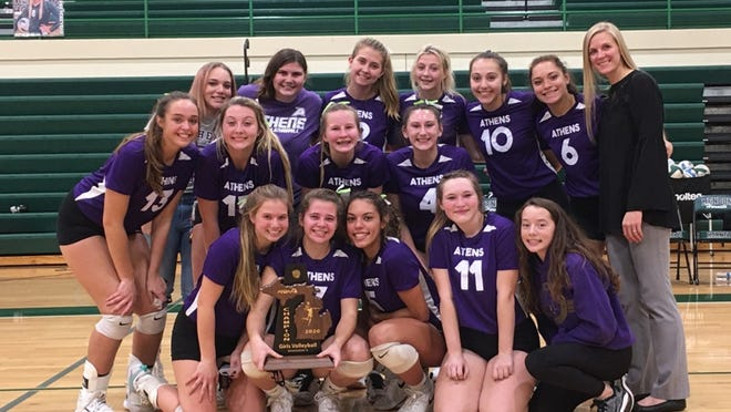 The Athens Lady Indians, shown here after their dramatic District Championship win, advanced on to the regional semifinals with a three set win over Martin Tuesday.