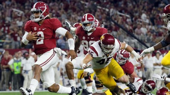 Alabama true freshman quarterback Jalen Hurts became a starter after accounting for four touchdowns in the season opener against USC at AT&T Stadium in Arlington, Texas.